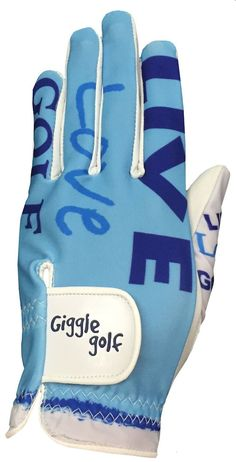 """This Live Love Golf women's golf glove has a breathable lyrca back, and high quality cabretta leather palm. It says """"Live Love Golf"""" on the thumb."""