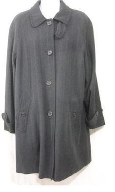 ce5aca6130 Ralph Lauren Womens 6 Charcoal Gray Pinstripe Wool Swing Coat Jacket Made  in USA