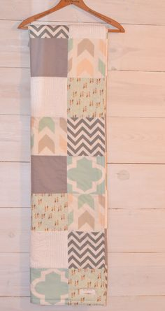 Toddler/Crib Size Natural Arrows Woodland Teal by BabyInspired