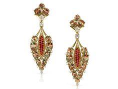Persephone: Zultanite®, Diamond & Ruby 18K Yellow Gold Earrings  (Mixed Light)