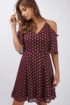 1450dc62889 Spot Cold Shoulder Mini Dress Mini Skater Dress