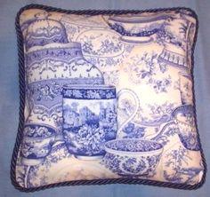 English French Country Dish Pillow Blue White Toile Design Spode. $42.99, via Etsy.