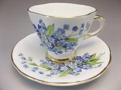 Vintage Royal Windsor Demi Tea Cup Saucer Set Blue Flowers Bone China Gilded  #RoyalWindsor