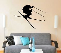 Downhill Skiing Wall Decal Vinyl Stickers Decals Home Decor Skier Snow Freestyle Jumping Extreme Sports Winter Nursery Bedroom Dorm