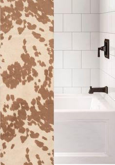 Custom made to order fabric shower curtain using our faux hair-on cowhide fabric called Udder Cream with a tan and light cream color spotted cattle pattern in a fabric that can be used with any rustic western bathroom or southwest bathroom decor that needs a unique western ranch look. Made and Ships from Wooded River. We can also do 'custom sizes' - please contact us for a quote. See details tab for important info. Western Bathroom Decor, Western Bathrooms, Western Baths, Cowhide Fabric, Wood River, Southwest Decor, Gifts For Office, Light Cream, Bathroom Colors