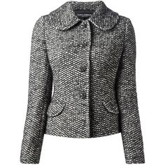 Black and white wool-alpaca blend tweed jacket from Dolce & Gabbana featuring a penny collar, a gem embellished front button fastening, long sleeves, front fla…