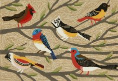 RugStudio presents Trans-Ocean Frontporch Birds Multi 1440/44 Hand-Tufted, Better Quality Area Rug