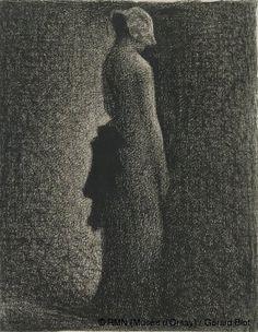 Georges Seurat (1859-1891)  Le noeud noir  Vers 1882  Crayon Conté sur papier vergé