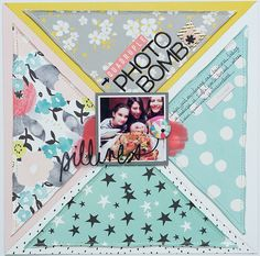 Quadruple Photobomb layout by Tracy Banks, using the Scraptastic Club Just A Girl Kit and Add-on Baby Boy Scrapbook, 12x12 Scrapbook, Wedding Scrapbook, Scrapbook Sketches, Card Sketches, Scrapbook Paper Crafts, Scrapbook Supplies, School Scrapbook Layouts, Scrapbooking Layouts