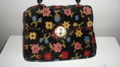 black with multi shade  flowers  carpet  bag  handbag  1960s  pops of colour with a black again floor