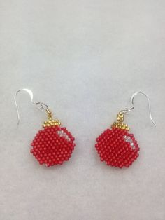 Brick Stitch Christmas Ornament Earrings by BeadingBeeCreations, $12.00