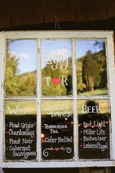 Bar menu on an old window frame For a rustic wedding