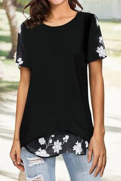 Elegant Floral Embroidery Paneled Mesh Hollow Out Irregular Hem Chiffon Blouse - Diorer Thing 1, Latest Tops, Types Of Sleeves, Short Sleeves, Floral Embroidery, Shirt Blouses, Shirts, Blouses For Women, Going Out