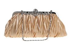 niceEshop(TM) Womens Vintage Satin Envelope Cocktail Evening Bag Party Handbag,Gold. Material:Satin;Size:26x13cm/10.2x5.1inch(LxH). Eye-catching bling design on our clutch will do any fashionista proud. So versatile clutch converts into a dainty handbag or long shoulder purse with 2 different clip on straps. Purse features a cinched satin design with silver rhinestone adorned trimming for high-class sass. Two removable and concealable chains.