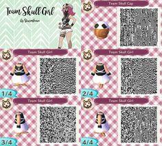 animal crossing new leaf qr code pokemon sun moon team skull girl grunt dress and hat cap black white punk outfit for acnl design by sturmloewe