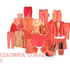 Colorful Coral (:, created by prettylittleliarsglee on Polyvore