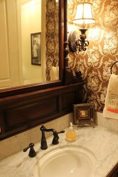 Texas Traditional Powder Room, with bold wallpaper and lighting treatments, from Trent Williams Construction Management, Tyler, Texas