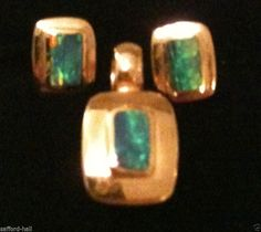 Black Opal Pendant and Earrings 14k Solid Gold Set 3 Pieces Intense Color Play #Stud