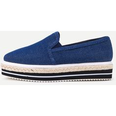 Blue Denim Elastic Rubber Mixed Espadrille Shoes ($37) ❤ liked on Polyvore featuring shoes, sandals, rubber footwear, blue shoes, blue denim shoes, rubber shoes and espadrille shoes
