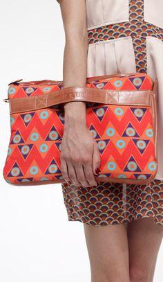 Oversize Clutch Bag in Red Zigzag Print