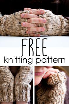 Get this fingerless mitten knitting pattern totally free!