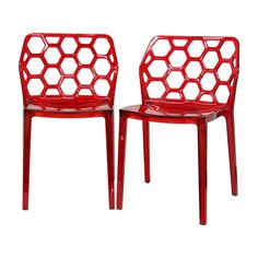 Add color to your dining room with this red modern dining chair set. This set features two acrylic chairs with honeycomb backs, black non-marking feet, and stackable frames. Use them as extra seating or buy enough for a full dinner service.