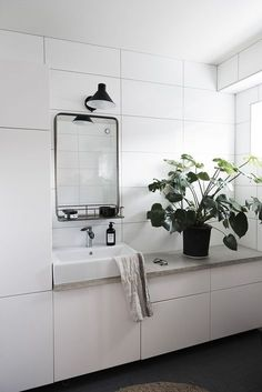I love the vanity design in this bathroom! It has so much storage, which is a sought-after feature in every bathroom!