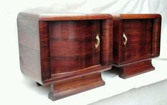Splendid Antique Pair French Art Deco Burl Walnut Nightstands Bedside c1930 #ArtDeco