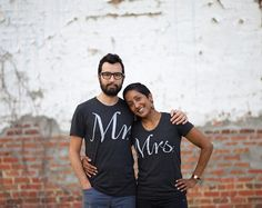 Mr. and Mrs. Tshirt set wedding gift his and hers by blackbirdtees