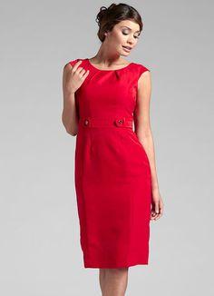 Vestido Tubinho com Botão na Cintura Vermelho - Posthaus