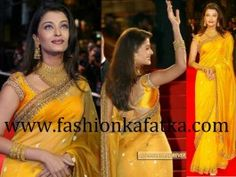 When Aish had introduce us the Cannes first time, she fascinated world with this #YellowNetSaree with embellishments so you can repeat same in your events gracefully