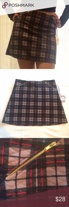 Quilted plaid skirt Soft royal rock plaid red black and purple/gray skirt. Never been worn, except for the picture. Vera Wang Skirts Mini