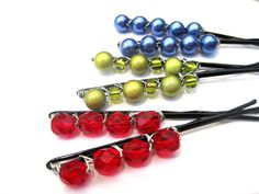 Beaded bobby pins, jewel tones, ruby red, sapphire blue, peridot green, set of six pretty hair pins