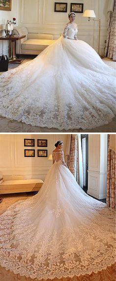 2017 New Stunning Long Sleeves Wedding Dresses Bateau 3D-Floral ...