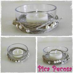 Candle holder with pearls / Portavelas con bramante y perlas