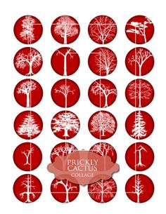 """RED and WHITE TREES Digital Collage Sheet, Jewelry Making, Circles, 1.5"""" Crafts, Digital Downloads, cabochon, art for jewellery"""