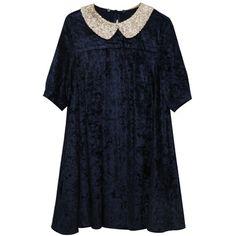 Velvet Spangle Collar Dress (£39) ❤ liked on Polyvore featuring dresses, the whitepepper, velvet, blue velvet dress, velvet dress and blue dress
