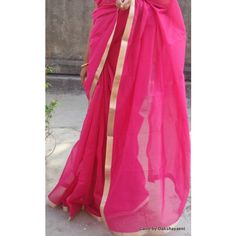 Pink is excuse enough!!!! Hot Pink Chanderi Silk Saree with Gold Border.