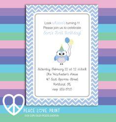 Blue Owl 5x7 Printable Birthday Invitation by PeaceLovePrint, $7.99 #birthday #invitation #printable #pink #owl #stationary #partysupplies Owl Birthday Party