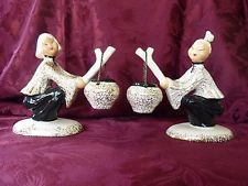 Hedi Schoop Complete Asian Figurines Set Black Gold California Pottery