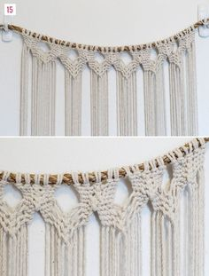 Diy macrame dip dyed wall hanging, using thick rope and twine Diy Macrame Wall Hanging, Macrame Curtain, Hanging Curtains, Arts And Crafts, Diy Crafts, Decor Crafts, Micro Macramé, Ideias Diy, Macrame Projects