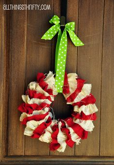 with red and white burlap All Things Thrifty Home Accessories and Decor: Tutorial: DIY Christmas Wreath