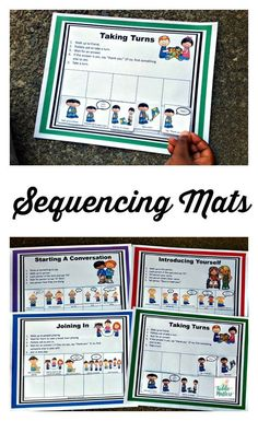Social Skills Sequencing Mats Set 1 is a social skills resource designed to help teach children social skills so that they can make and keep friends.  These social skills sequencing mats teach children how to take turns, introduce themselves, join in a ga