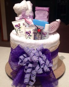 Spa Towel Cake filled with luxury pampering products