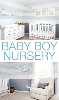 Baby boy nursery design. Love the gray and blue striped walls!!