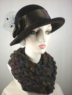 6c933f7cee3132 Brown Womens Wool Winter Hat, Brown Wool Felt Cloche Hat, Downton Abbey Hat,  Womens Warm Winter Hat, What a Great Hat
