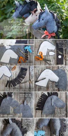 paardjes op een stok! Perfect cadeautje voor een kind!