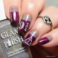 Harry Potter themed nail art using both shades from the new @glampolish_ Iconic Duo Ron and Hermione releasing Thursday June 1st at 2pm EST. Two amazing shades! Full details are on my blog PolishandPaws.com (link in bio.) . . #glampolish #glampolishiconicduo #ronandhermione #harrypotternails #harrypotternailart #indiepolish #indieswatch #indiepolish411 #fbpolishpaws #prsample