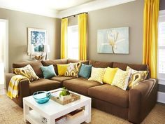 living rooms, brown and yellow living room, color, chocolate brown, tv room, brown couch, brown yellow living room, live room, yellow decor room