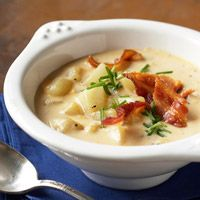 Potato, bacon and cheese--all the flavors you love in a bowl of soup! The American cheese keeps the soup from curdling while it slow cooks. Mashing cooked potatoes a bit gives the soup some body, while the bacon adds a smoky-salty taste. Slow Cooker Potato Soup, Cheesy Potato Soup, Cheesy Potatoes, Crock Pot Slow Cooker, Crock Pot Cooking, Slow Cooker Recipes, Crockpot Recipes, Soup Recipes, Cooking Recipes